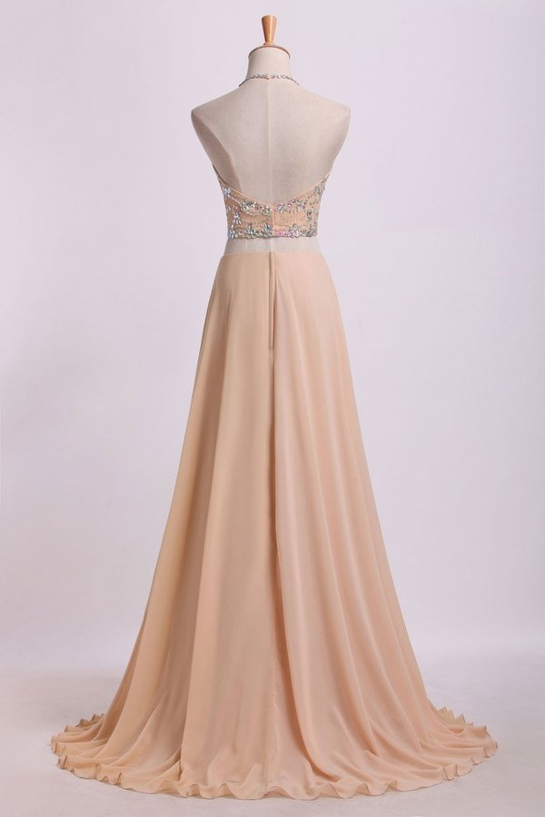 Sexy Prom Dresses Halter Two Pieces A Line With Flowing Chiffon PK63BCD7