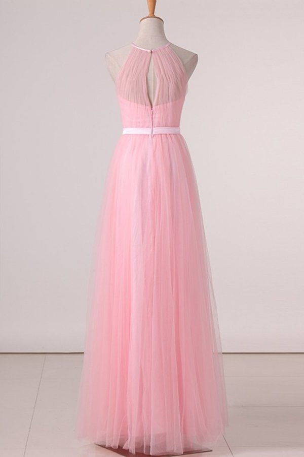 Floor Length Halter Ruched Bodice A Line Tulle Bridesmaid P328JGTG