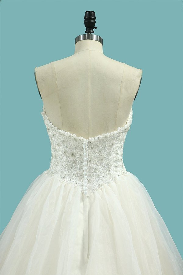 Sweetheart Beaded Bodice Organza Wedding Dresses A PMJA5RX5