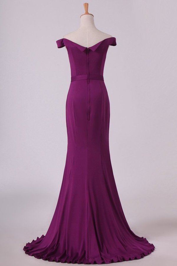 Grape Mermaid Boat Neck Spandex Floor Length Zipper Up Evening PQLQ86HM