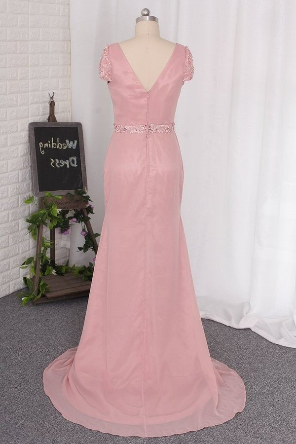 Mermaid V Neck Short Sleeves Prom Dresses Chiffon P2JH95QP
