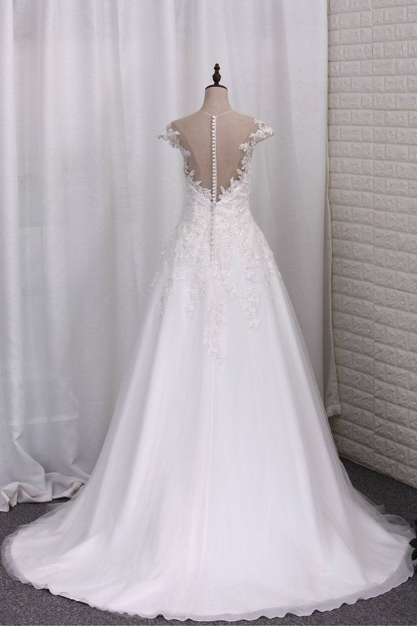 2020 A Line Wedding Dresses Scoop Tulle With Applique P3ERK5HX