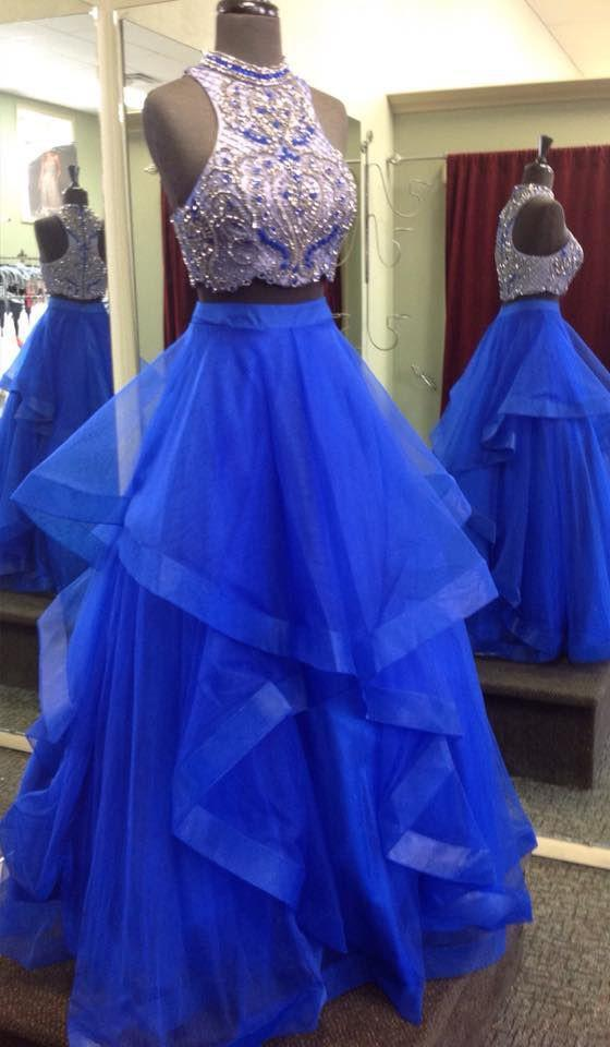 Royal Blue Two Piece Beaded Bodice Tulle Skirt Ball Gown Halter Sleeveless Prom Dresses