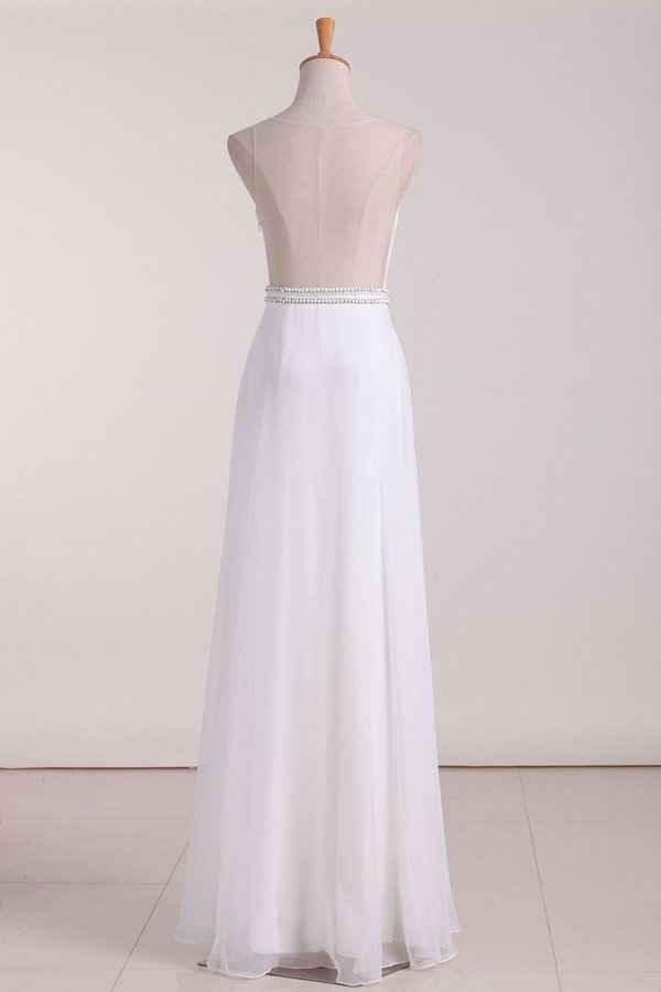 2020 Chiffon Prom Dresses A Line Scoop Chiffon With Beads Floor P12L4E9T