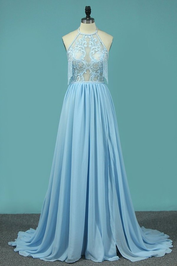 A Line Chiffon Halter Prom Dresses With Applique And Slit PD7TM4FK