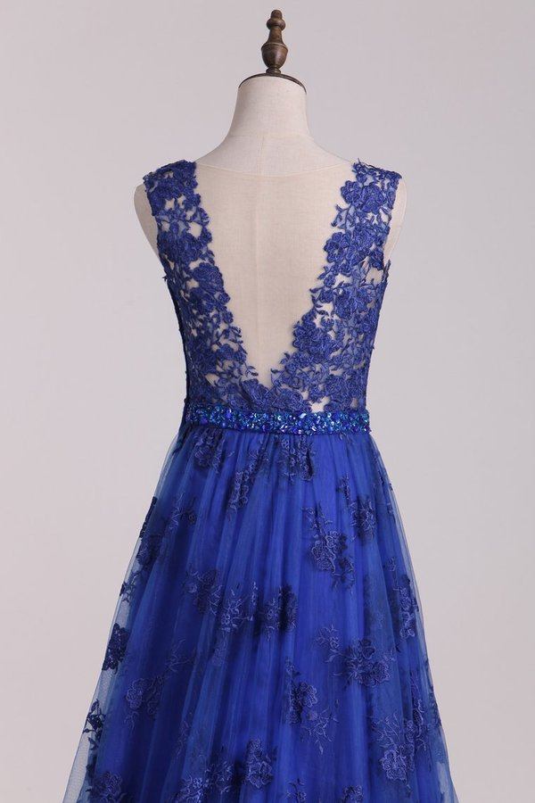 A Line V Neck Lace Sweep Train Prom P9HQJSHT