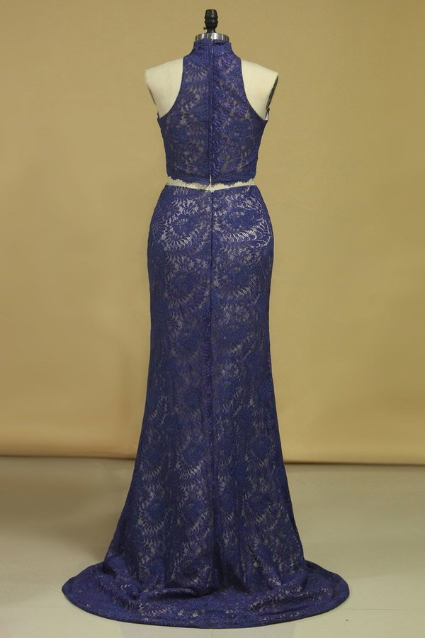 Prom Dresses Sheath High Neck Two Pieces Lace PE5N4HK3