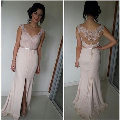 Mermaid Pink Lace Cheap Sweetheart Slit Floor-Length Sleeveless Prom Dresses