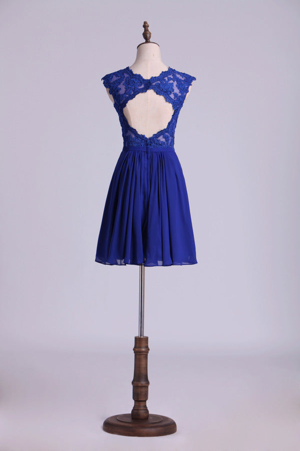 Dark Royal Blue V-Neck Cocktail Dresses Tulle And Chiffon With Applique & PYBQXYT1
