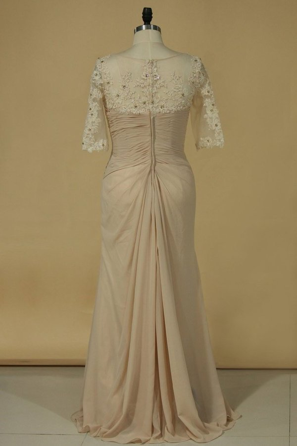 Chiffon V Neck With Applique And Ruffles Sheath Mother Of The Bride P61EPAPG