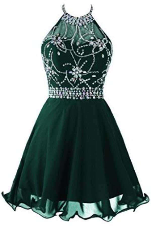 A Line Cute Homecoming Dress Halter Short/Mini Chiffon&Tulle Beaded P6ERKMLH