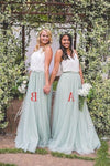 2 Pieces Ivroy And Mint Long A-Line Flowy Simple Cheap Elegant PMZXLPC5