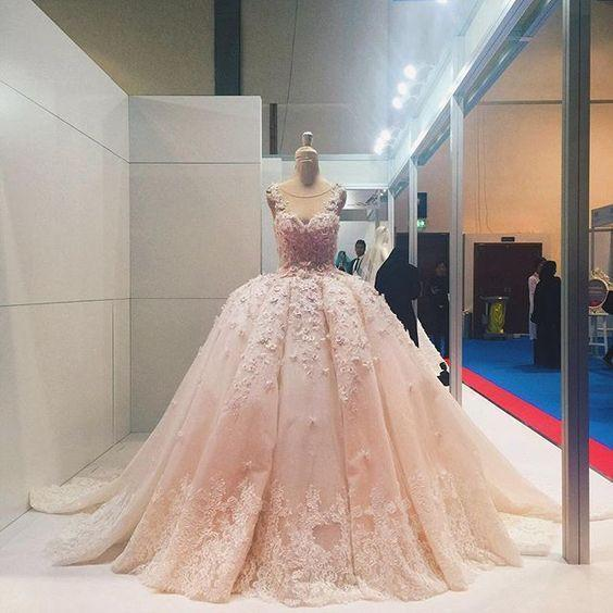 Pink Lace Applique Beads Ball Gown Quinceanera Dress Wedding Dress
