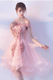 Pink Lace Tulle Short Prom Dress Off-the-Shoulder Appliques Lace up Homecoming Dresses STGPST13190