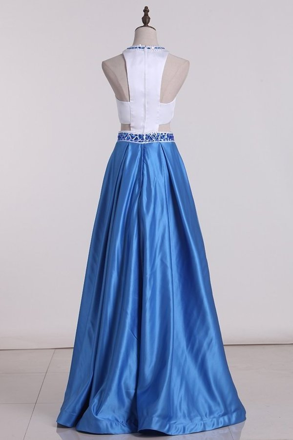 Bicolor Scoop A Line Prom Dresses Satin With Beading PKMJ8C1C