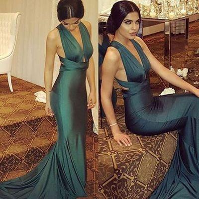Sexy Dark Green Deep V-Neck Mermaid Backless Prom Dresses