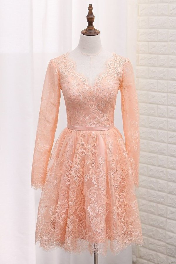 2020 A Line V Neck Long Sleeves Lace Homecoming Dresses PXFBZBZR
