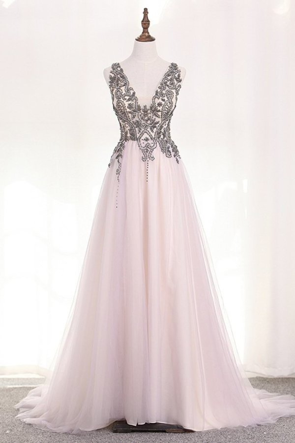 Straps Prom Dresses A Line Tulle With Beading And P862L219