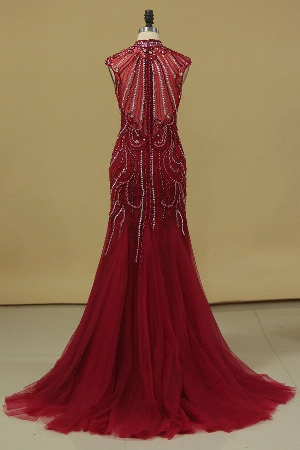 Burgundy Prom Dresses High Neck Mermaid With Beading Sweep Train P5Z7LFT6