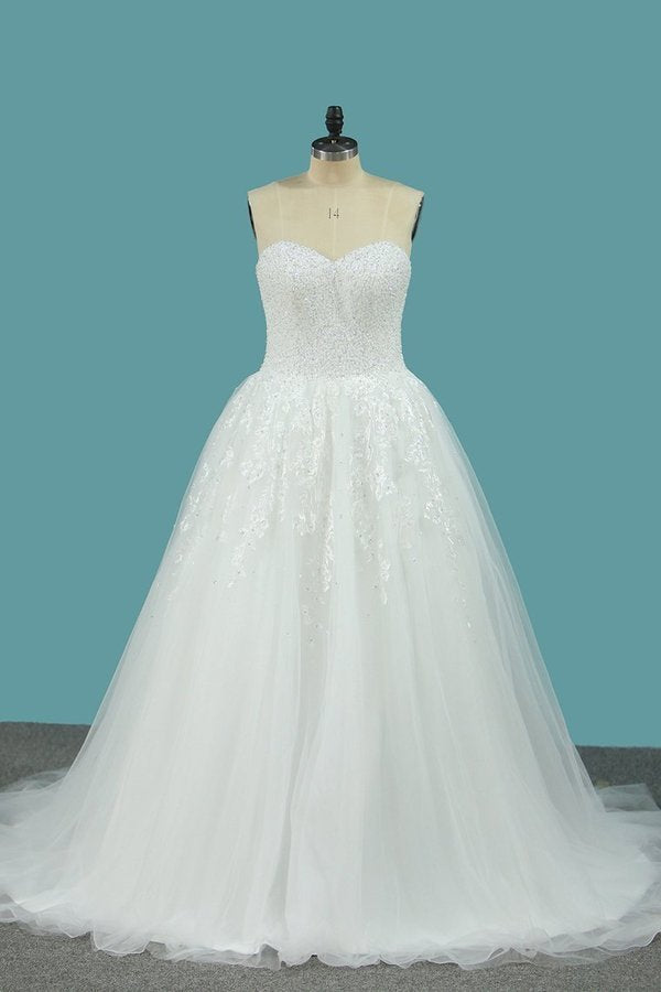 Sweetheart Organza A Line Wedding Dresses With Applique And P55T9DY1