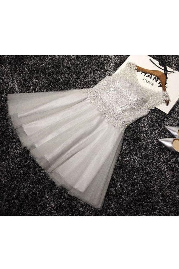 New Arrival Scoop Tulle & Lace Homecoming Dresses With Sash P9X1PF7F