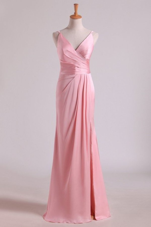 Bridesmaid Dresses V Neck A Line Chiffon With Slit And PN6GSBQ5