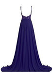 Prom Dresses Chiffon with Straps Beaded Bodice Evening Dress