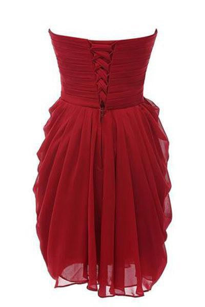 Strapless Chiffon Short Bridesmaid Dresses Prom Gowns