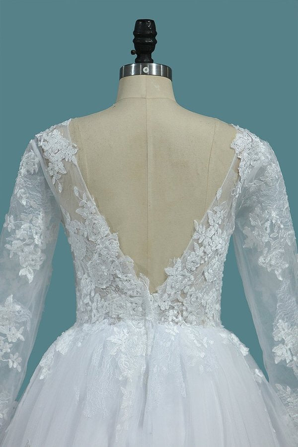 2020 A Line Open Back Long Sleeves Scoop Wedding Dresses Tulle PMF1F45F