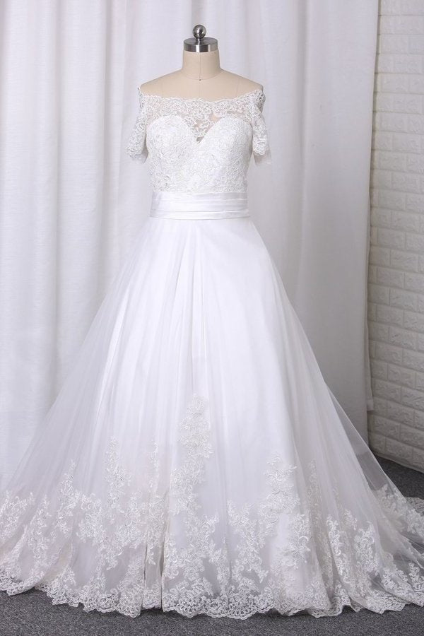 A Line Boat Neck Wedding Dresses Short Sleeves Tulle With Applique PDK47GEG
