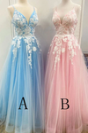 New Spaghetti Strap Floor Length A Line Tulle Prom Dress With Appliques Formal STGP3CZ9RMF