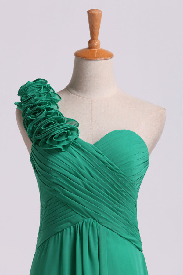 Bridesmaid Dress One Shoulder A Line With Handmade Flowers PRLBYA81