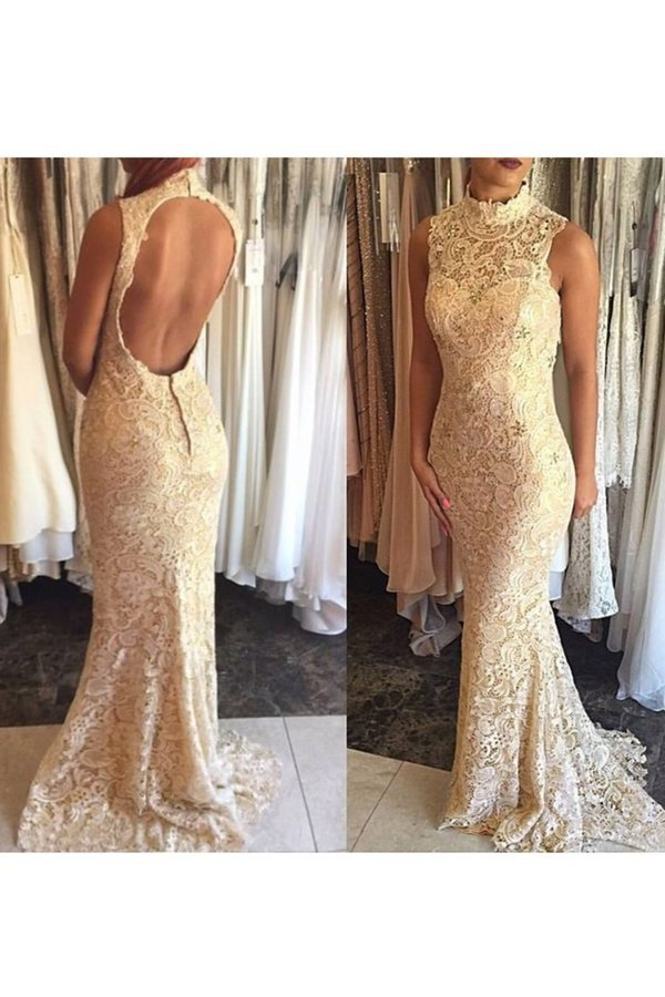 Evening Dresses High Neck Lace Mermaid Sweep Train P92P2163