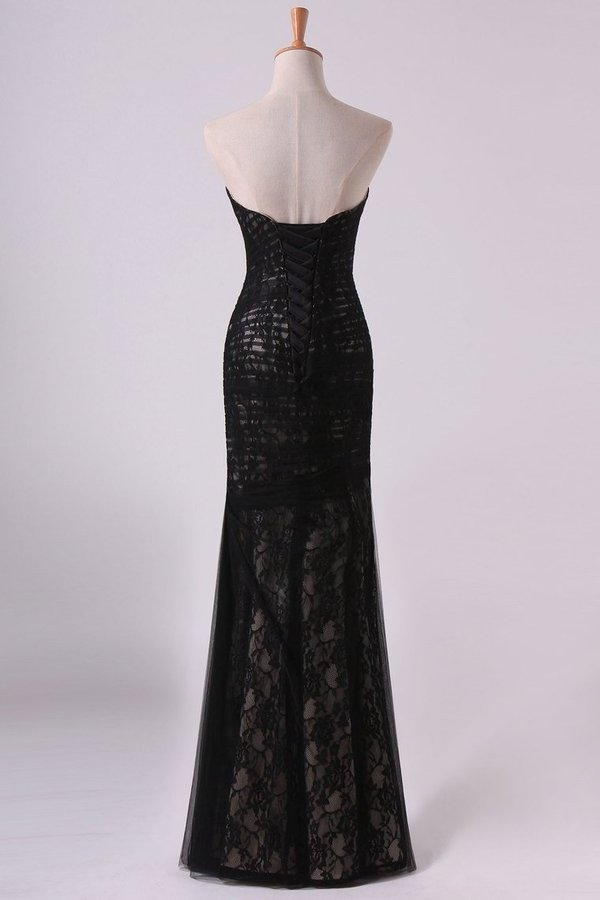 Evening Gown Sweetheart Mermaid Floor Length Corset Black Lace Tulle P5QNHMGS