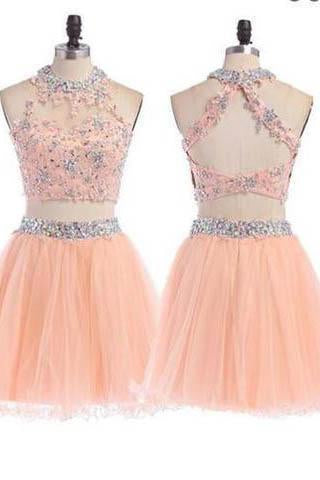 Peach Homecoming dress 2 pieces homecoming dress short homecoming dress
