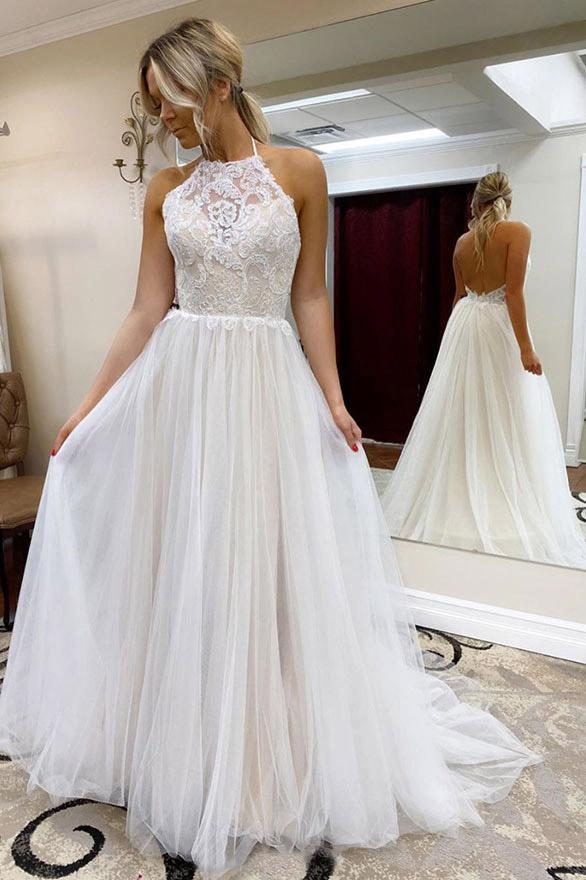 A Line Halter Tulle Wedding Dress with Top Lace, Backless Beach Wedding Dresses STG15547
