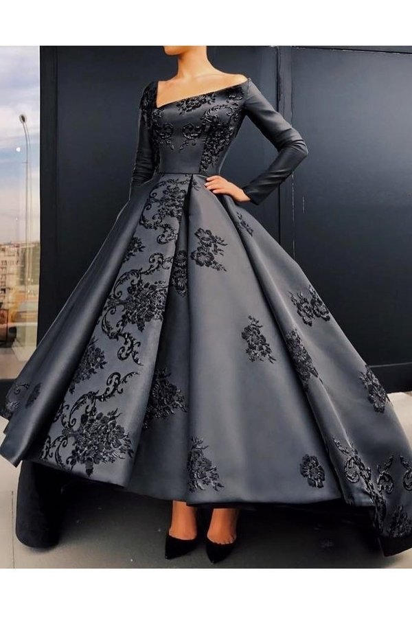 A Line Long Sleeves Satin Prom Dresses With P3ASZ37Q