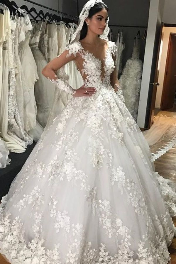 A-Line Scoop Long Sleeves Tulle With Applique Gorgeous Wedding Dresses PAEY55GJ