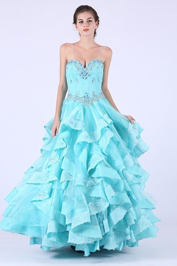2020 A Line Sweetheart Prom Dresses Organza With Applique And P4G2D32H