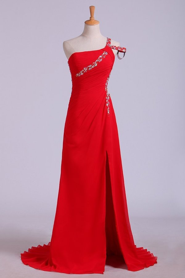 Prom Dresses Sheath Split Front Floor Length One Shoulder Color P6M8GMY4
