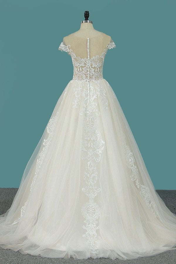 2020 A Line Tulle Wedding Dresses Scoop Cap Sleeve PQ25TFEY