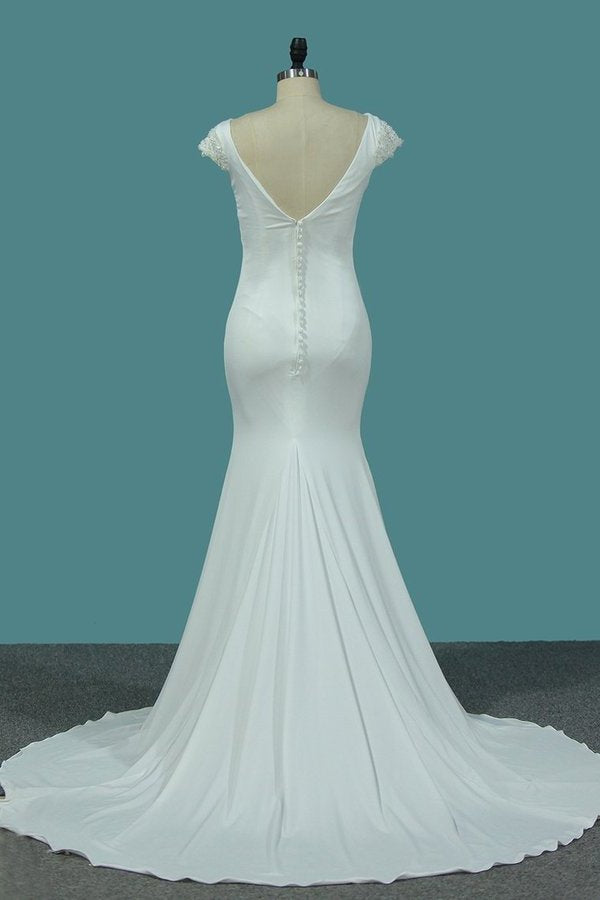 2020 Bateau Short Sleeves Wedding Dresses Open Back Spandex PYNFY5X8