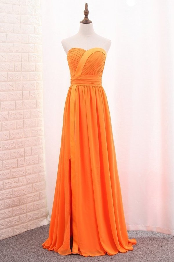 2020 A Line Chiffon Sweetheart Ruched Bodice Bridesmaid Dress P7BB9PNP