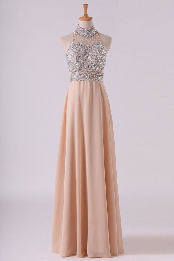 High Neck Prom Dresses A Line Chiffon With Beading Sweep PHHNSF3P