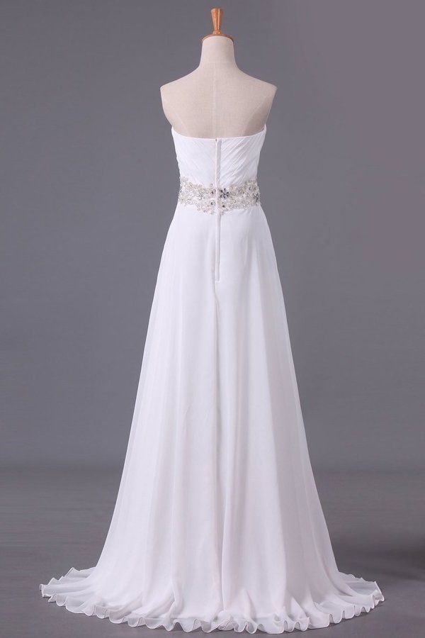 A Line Sweetheart Chiffon With Beads And Ruffles Wedding P82FBNCN