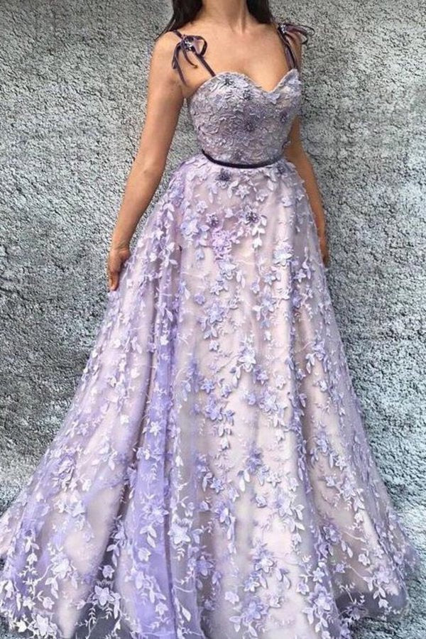 2020 Beautiful Prom Dresses Spaghetti Straps A Line Lace Prom Dress Sexy PBRDTAL9