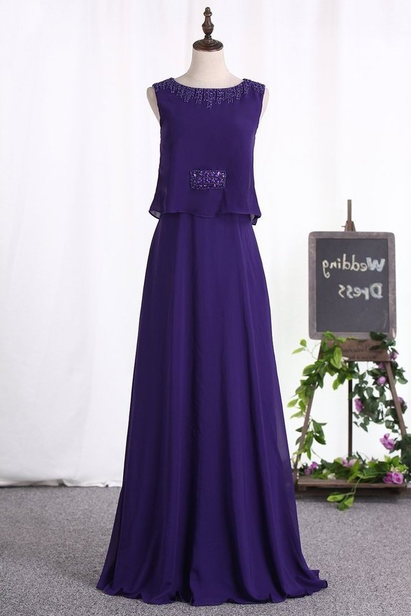 Chiffon Scoop A Line Floor Length Prom Dresses PJTT73XX