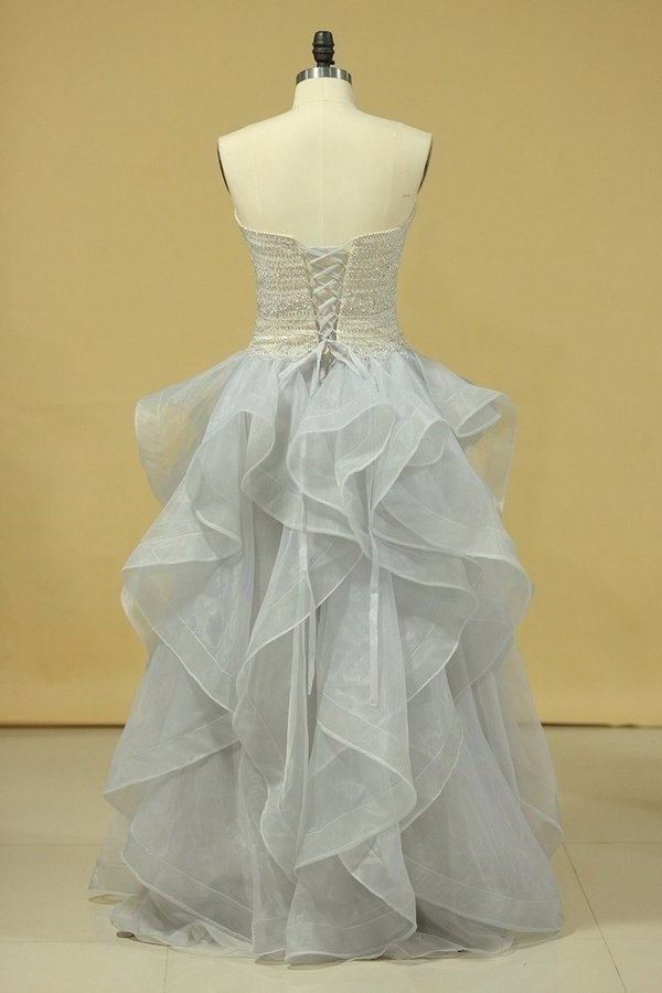 Plus Size Strapless Prom Dresses Organza With Beading Floor PYEH1HGT