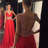 Open Back Red Chiffon V-Neck Cap Sleeve Lace A-Line Beads Prom Dresses