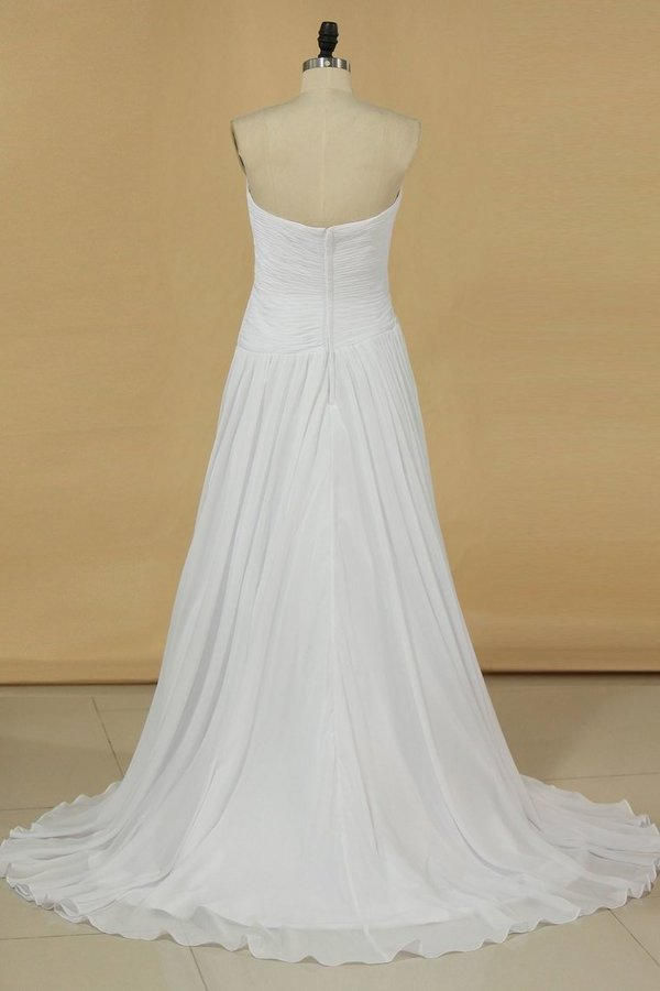 2020 Sweetheart Pleated Bodice A Line Wedding Dress With Flowing PREA6ZBD